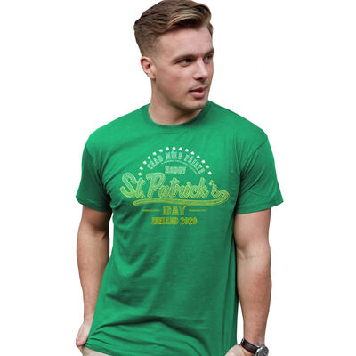 St. Patrick's Day T-Shirt With Céad Mile Fáilte Ireland 2020 Design (Neon)