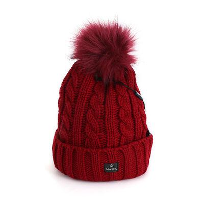 Celtic Ore Woollens Aran Bobble Hat, Red Colour
