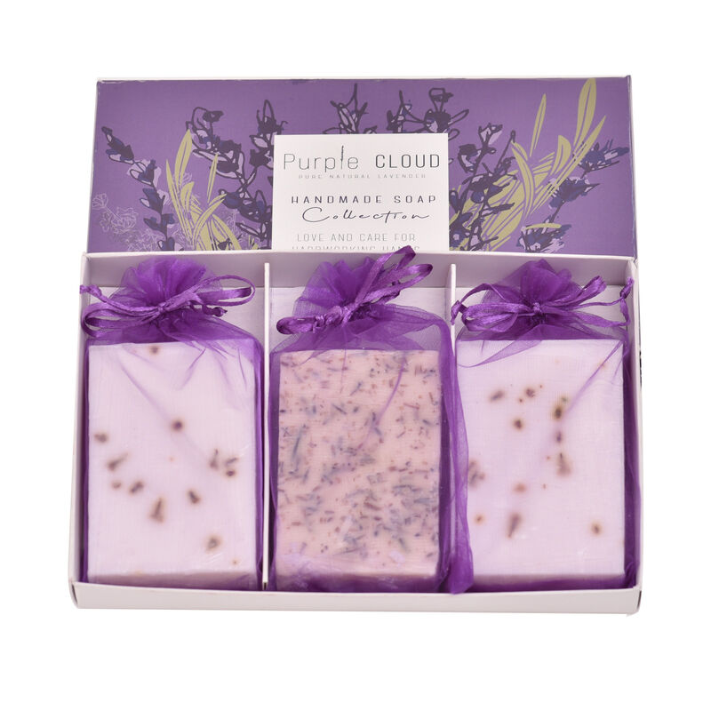 Purple Cloud Handmade Pure Natural Lavender Soap Collection - 3 Soaps