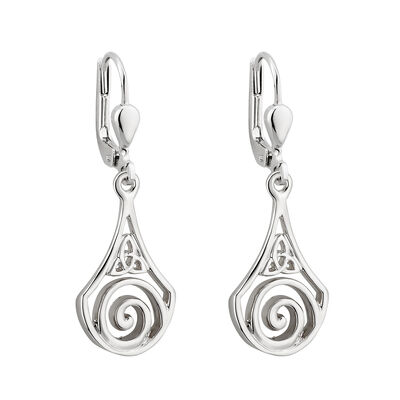 Rhodium Plated Drop Earrings With Celtic Swirl And Trinity Knot Detail