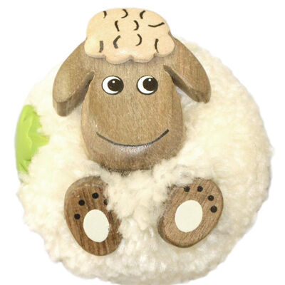 White Fluffy Sheep With Shamrock Handmade Natural Wood Magnet