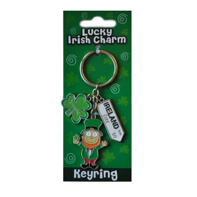 Irish Leprechaun Style Charm Keychain With Ireland Road Sign