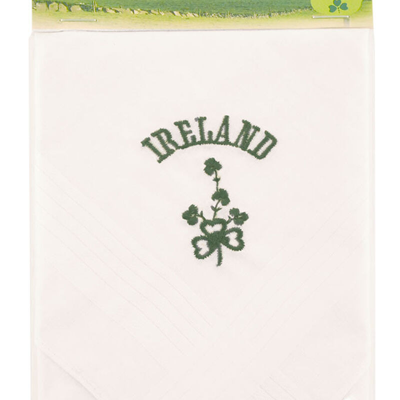 Mens Pure Cotton Handkerchief With Green Ireland and Shamrock Print
