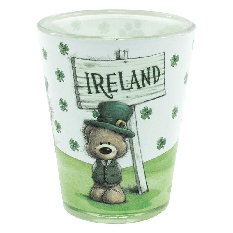 Paddy Bear Irish Designed Shot Glass With Shamrock Design And Ireland Text