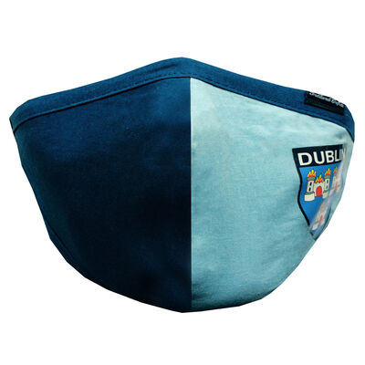 Re-usable Blue & Navy County Dublin Face Covering, Adjustable Ear Loops & Filter