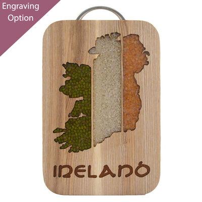 Unique Oak Hot Pot Stand and Ash Cutting Board With Irish Map Design