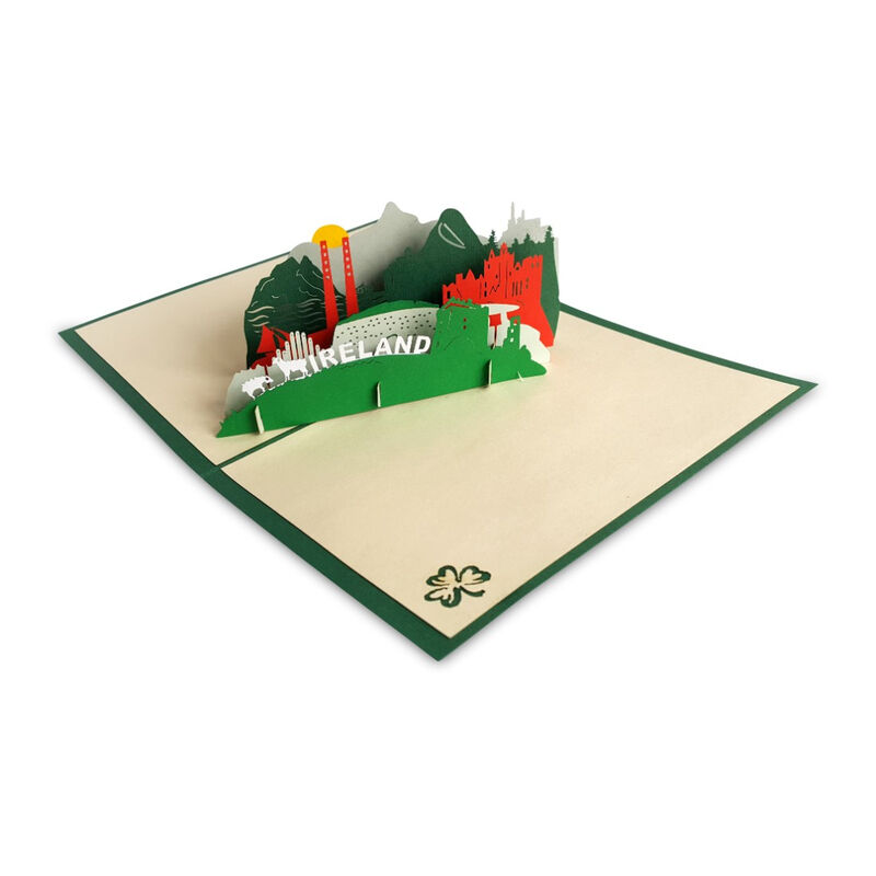 Pop-Up Card with Irish Landmarks and Icons Design and Ireland Text