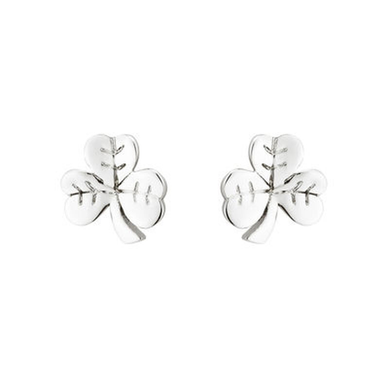 Hallmarked Sterling Silver Shamrock Shaped Small Stud Earrings