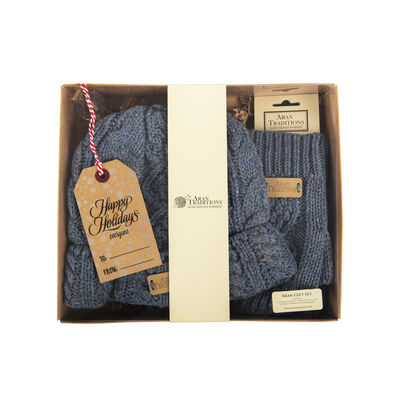 Aran Traditions Gift Set - Aran Pastel Donegal Beanie Hat & Handwarmers Set, Blue Colour