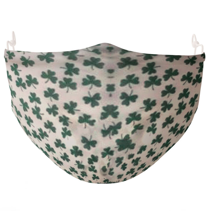 Re-usable Face Covering Mini Green Shamrock Design With Adjustable Ear Loops & Filter