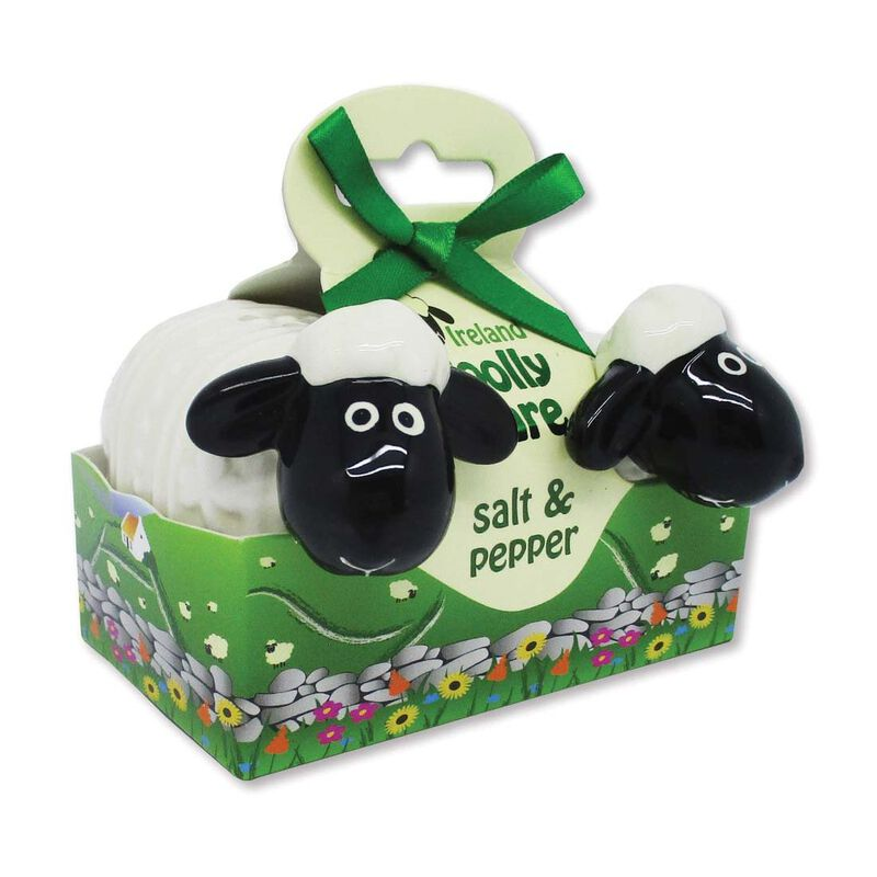 Ireland Woolly Ware Cute Ceramic Sheep Salt and Pepper Shakers