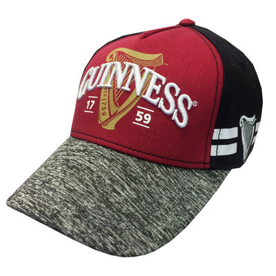 Guinness Baseball Cap With Harp 1759 Logo, Black & Burgundy Colour