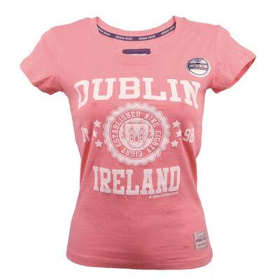 Ladies T-Shirt With Dublin Ireland Est 988 Stars Print, Nude Colour