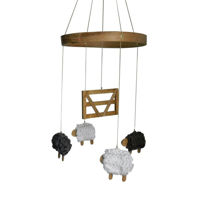 Sam Agus Nessa Counting Sheep Wooden Hanging Mobile Decoration