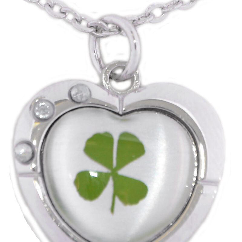 4 Leaf Clover Silver Plated Heart Pendant