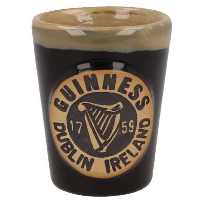 Official Guinness Pottery Shot Measure With Harp Logo Design