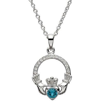 Platinum Plated Claddagh December Birthstone Pendant With Swarovski Crystals