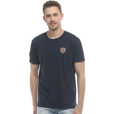 Irish T-Shirt With Ireland Shamrock Design Leather Patch  Navy Colour