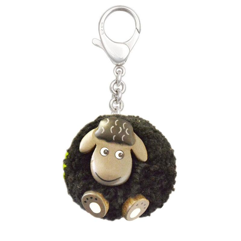Black Fluffy Sheep With Shamrock Handmade Natural Wood Keychain