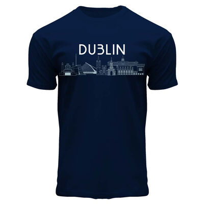 Dublin Designed Round Neck T-Shirt With Famous Landmarks Detail  Navy Colour