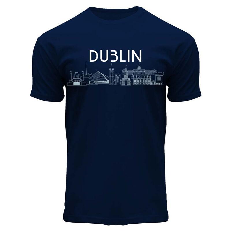 Dublin Designed Round Neck T-Shirt With Famous Landmarks Detail  Navy Colour