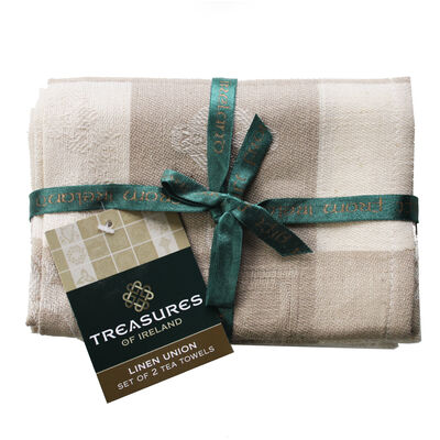 Natural Linen Glass and Mirror Cloths With Celtic Symbols Design