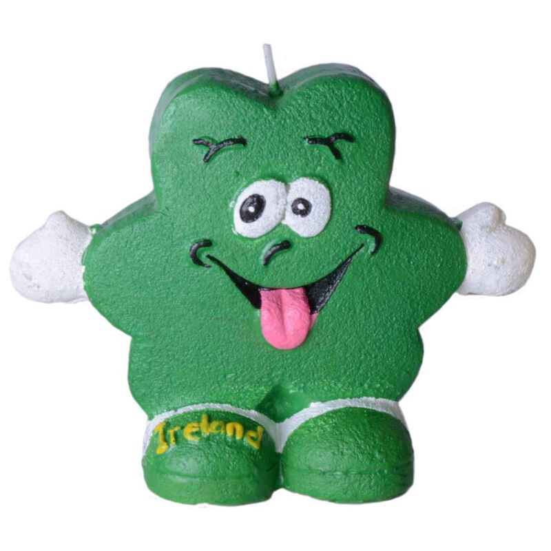 """4"""" Candle of Sean the Shamrock with Tongue Out and Hands Held Wide"""