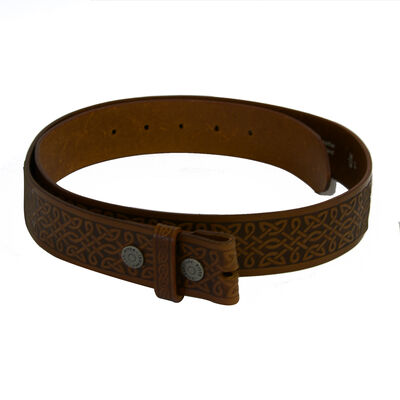 Lee River Genuine Brown Leather Snap-On Belt With Celtic Design