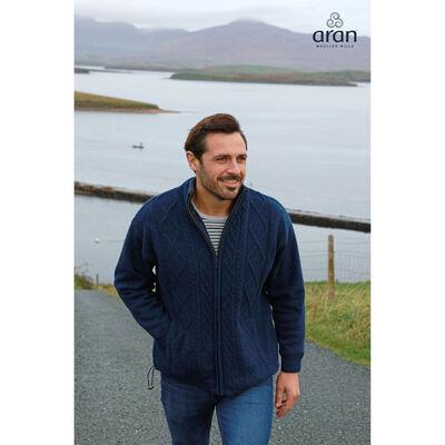 Lined Shetland Wool Zipper Aran Cardigan, Navy Colour