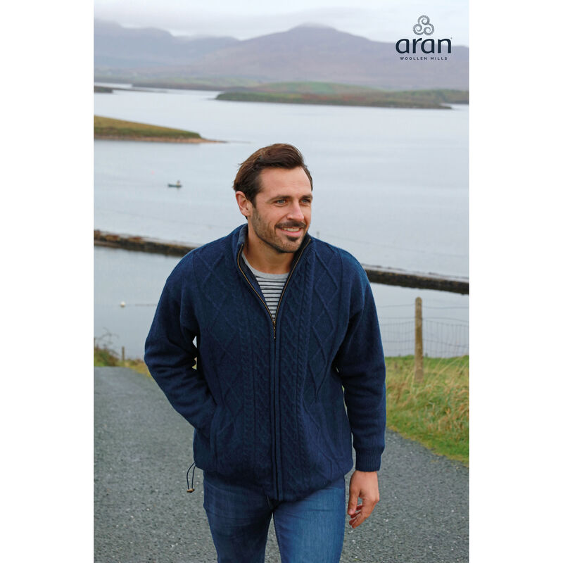 Lined Shetland Wool Zipper Aran Cardigan, Navy Colour
