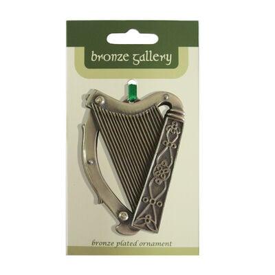 Bronze Plated Hanging Ornament  Harp Design