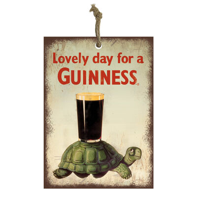 Official Guinness Mini Metal Bar Sign With Tortoise And Pint Glass Design