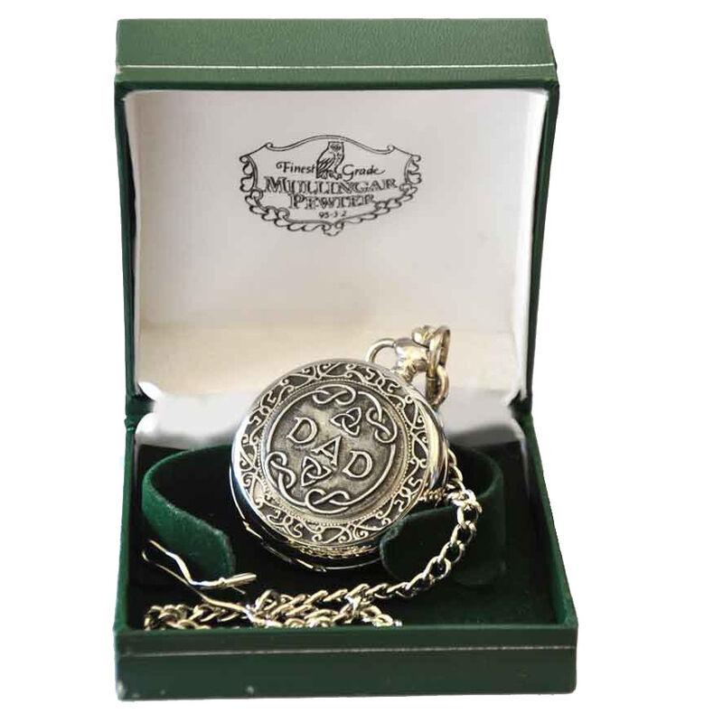 Mullingar Pewter Pocket Watch With Dad Design