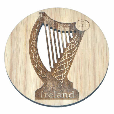 Irish Wooden Designed Coaster With Celtic Ireland Harp Design