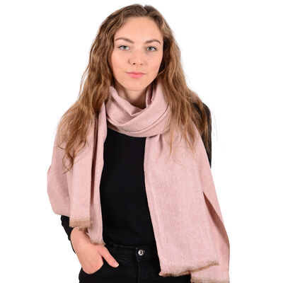 Herringbone Authentic Celtic Ireland Wool Blend Knitted Scarf  Pink Colour