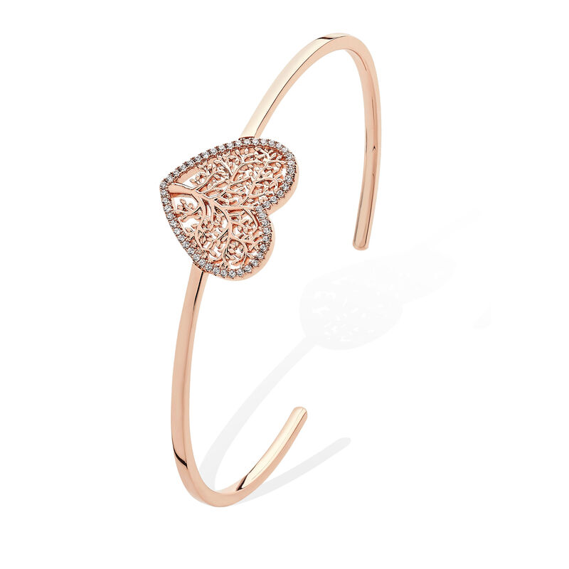 Tipperary Crystal Rose Gold Open Bangle with Tree of Life Heart Design