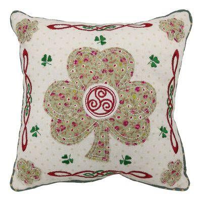 "10"" Square Patchwork Applique Cushion Shamrock Design"