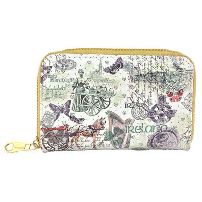 White Ladies Wallet With Irish Icons and Glittery Hearts Design
