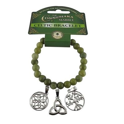 Connemara Marble Triple Charm Bracelet With Tree Of Life And Trinity Knot