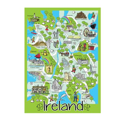 Iconic Map Of Ireland Single T-Towel