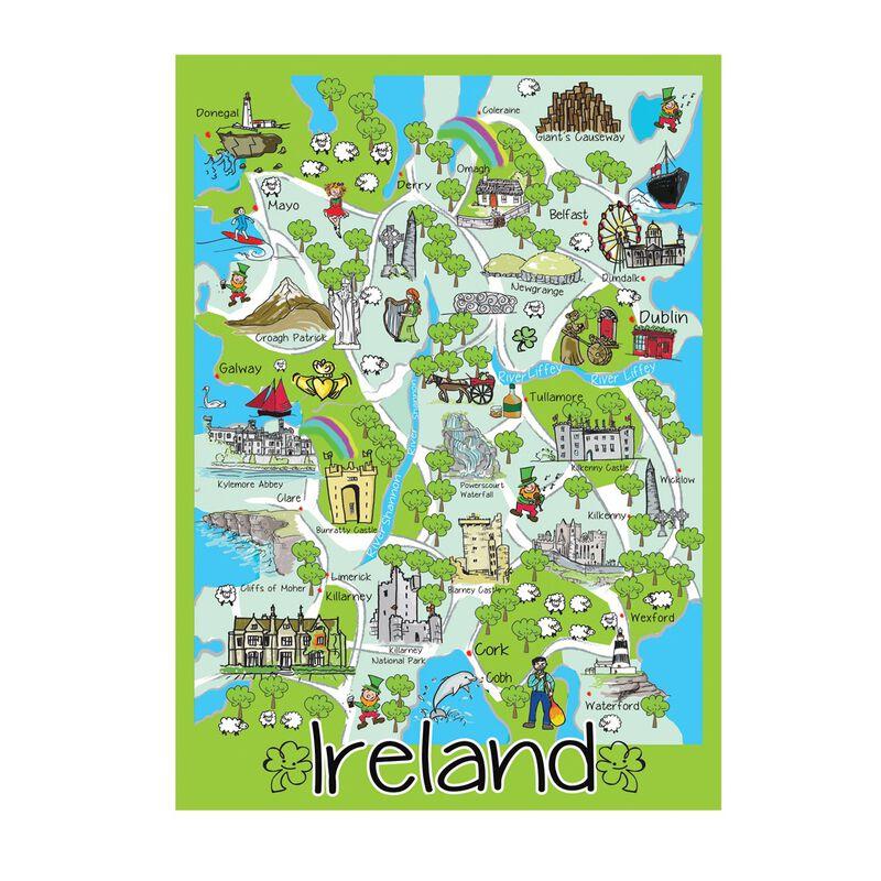 Iconic Map Of Ireland Single T-Towel