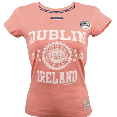 Ladies Dublin T-Shirt With Stars Print  Coral Pink Colour