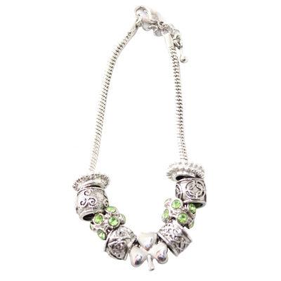 Silver Plated Shamrock Bead Charm Bracelet