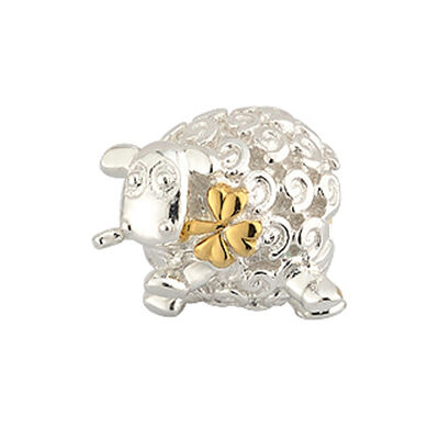 Bead Charm With Sheep And Gold Shamrock In Mouth  Hallmarked Sterling Silver