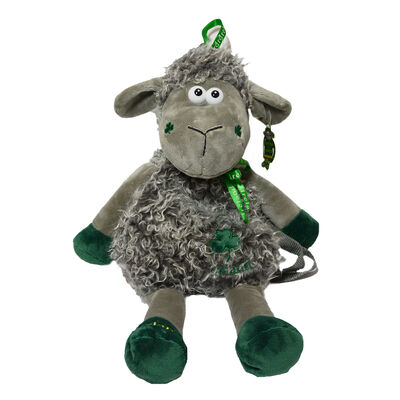 Lorcan The Lamb Backpack With Green Shamrock And Ireland Ribbon Design