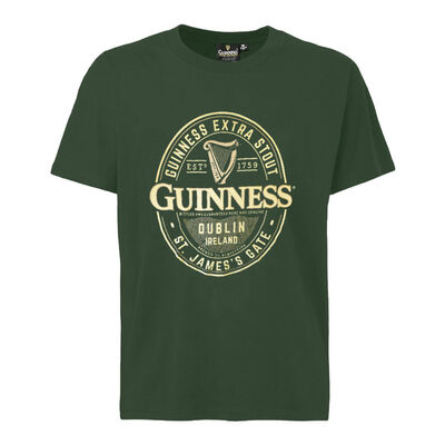 Guinness T-Shirt With Brewed In Dublin Bottle Label, Bottle Green Colour
