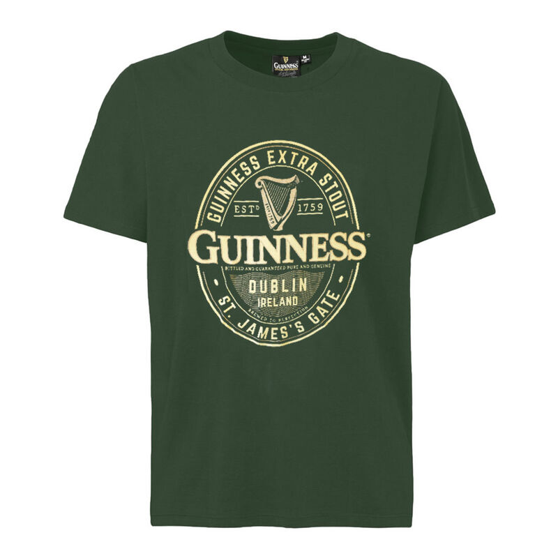 Guinness T-Shirt With Brewed In Dublin Bottle Label, Bottle Green Colour