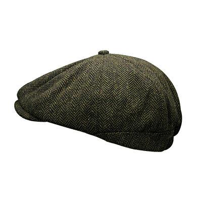 Heritage Traditions Herringbone Tweed Peaky Stud Flat Cap, Green Colour