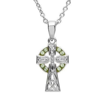 Platinum Plated Celtic Cross Pendant With Circle Of Peridot Swarovski Crystal