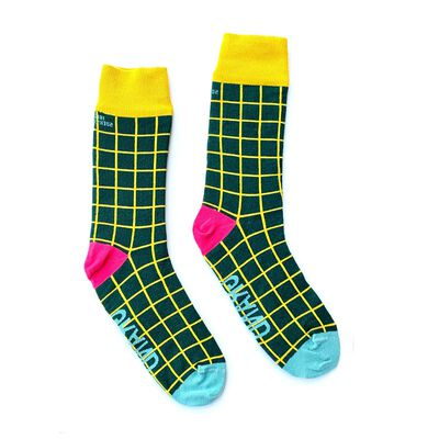 Irish Socksciety Green Squares With Grand Text Design